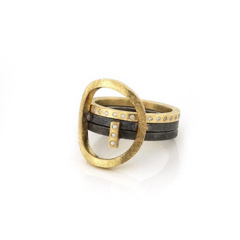 BEbold jewelry - 3 stapel ringen in zilver met 18 kt geelgoud en diamanten