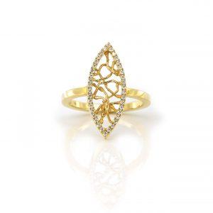 Sabine Eekels - 18 kt geelgouden fantasie ring met gesmolten draden in de markiesvorm en diamanten
