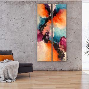 Schilderijen van Sabine Eekels. Tweeluik. 'Sunshine of your love'. Zand en acrylverf op een canvas doek. Samen 140x70 cm.