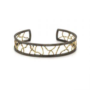 Unica - Zilveren armband met gesmolten 18k gouden draden