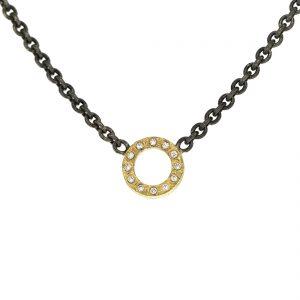 Zilveren collier met open cirkel van goud met diamanten BE.czgd.20.12x005