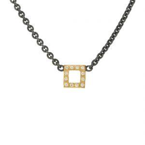 Zilveren ketting met open vierkant van goud met diamanten BE.czgd.30.12x005