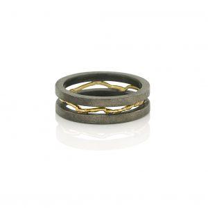 Zilveren ringen met gesmolten gouden draden BE.U.rzg.0010