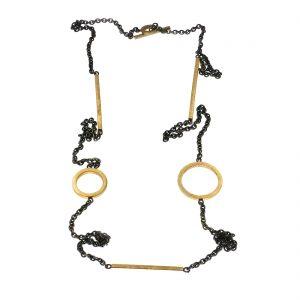 zilveren collier met gouden cirkels en staven BE.U.czg.0001