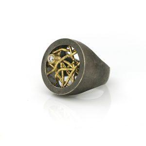 zilveren ring met gouden draden en diamant 10pts BE.U.rzgd.0008